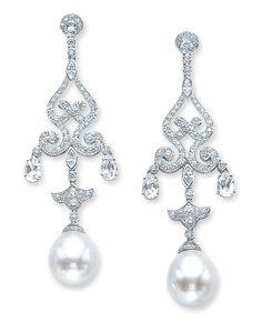 Cellini Jewelers ~ South Sea Pearl and Diamond Chandelier Earrings
