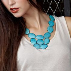 Eco-Friendly Gema Necklace in Teal - Hugssy.com