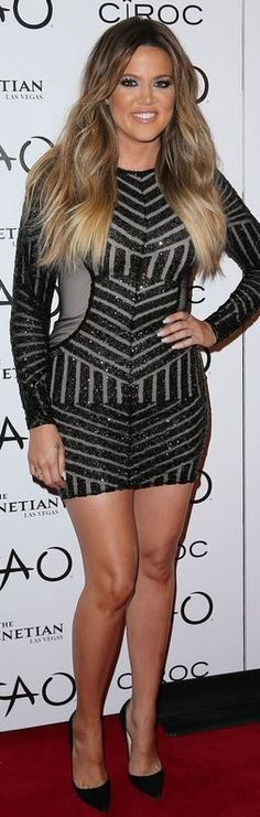 Khloe Kardashian: Dress – Michael Costello  Shoes – Christian Louboutin