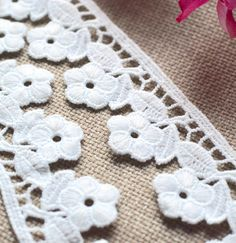 White lace trim, Floral lace trim, Embroidered lace, Lace trim, Lace, White trim, White lace, Sewing supplies, Craft supplies, Cotton lace by SixthCraft on Etsy