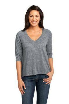 NEW District Made™ - Ladies Microburn™ V-Neck Raglan Tee in Heathered Nickel.  DM462.  $15.98 each (XS-XL).  #vneck #microburn #raglan #womens #fashion #grey
