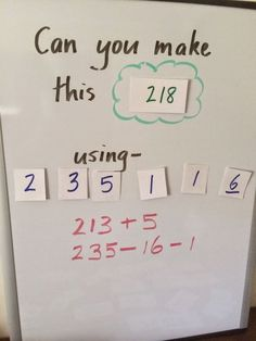 Simple math challenge to make the kids really think and apply their math skills.