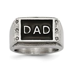 Stainless Steel Polished Black Enameled DAD with CZ Ring / STYLE: SR477-10 #CZRing #BlackEnameledDADRing #StainlessSteel #DADCZRing Men's Fashion Jewelry, Fashion Rings, Dad Rings, Rings For Men, Skull Jewelry, Men's Jewelry, Jewelry Trends, Stainless Steel Polish, Size 10 Rings