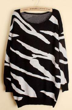 Black White Zebra Stripes Long Sleeve Sweater- cute w/skinny jeans/leggins and boots!.