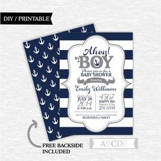 Navy, Grey Boy Baby Shower invitation Nautical baby Shower DIY Printable (PDNMO020) by abcdeparty on Etsy https://www.etsy.com/listing/271940478/navy-grey-boy-baby-shower-invitation