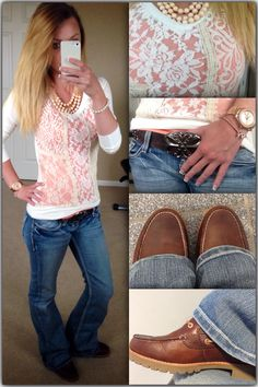Casual Friday!! Lacey Sweater, peach camisole, BKE jeans, Sperry Topsider Ladyfish boots. Love this fall outfit!