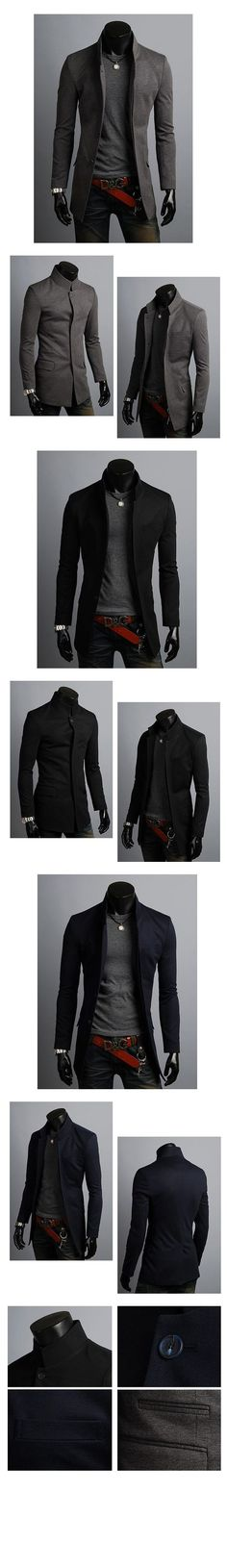 KOREAN Mens Slim Fit Premium Button Jacket China Collar Long Blazer - Reality Worlds Tactical Gear Dark Art Relationship Goals Suit Fashion, Trendy Fashion, Mens Fashion, Young Fashion, Fashion Black, Mode Masculine, Cool Outfits, Casual Outfits, Men Casual