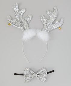 Love this Silver Reindeer Headband & Bow Headband by Beary Basics on #zulily! #zulilyfinds