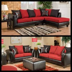 Red And Black Sectional Sofa Home Furniture