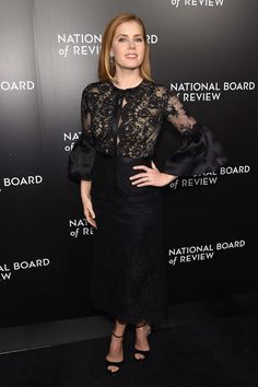 Amy Adams Lace Dress - Amy Adams was a classic beauty in a black lace dress by Marchesa at the National Board of Review Gala.