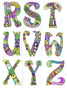 Doodle art alphabet ideas for 2019 Tangle Doodle, Tangle Art, Doodles Zentangles, Zentangle Patterns, Doodle Art, Doodle Lettering, Creative Lettering, Lettering Design, Typography