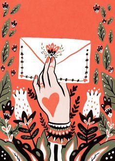 Love Letter Art #illustration #heart #hand #flowers #envelope #lovenote