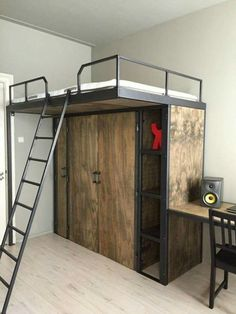 How you can Discover The Very Best Loft Beds For Kids – Bunk Beds for Kids Metal Bunk Beds, Bunk Beds With Stairs, Bunk Bed Designs, Small Bedroom Designs, Tiny Bedroom Storage, Diy Bedroom, Diy Storage, Build A Loft Bed, Industrial Bedroom Design