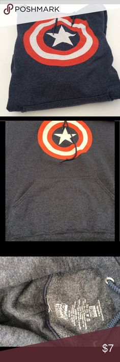 Captain America hoodie In well loved used condition. Small hole in sleeve but not so noticeable. Some pilling at arm waist bands. Color is washed out navy. Tops Sweatshirts & Hoodies