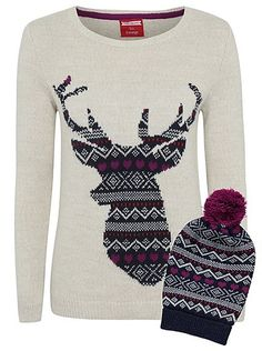 Cute Christmas Jumpers - Christmas Fairisle Jumper and Hat Set for Women