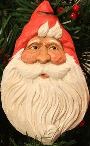 """Designed and carved by SL Hendrix, Wasatch Woodcarver. Want to carve your own Christmas Ornaments? """"Carve Your Own"""" with my Carving Kits or buy them already carved (various prices). Wood Carving, Wood Crafts, Sculpting, Hand Carved, Etsy Seller, Santa, Crafting, Decorations, Christmas Ornaments"""