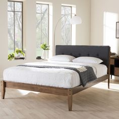 Inspired by mid-century modern Scandinavian design, the Kyros Upholstered Platform Bed provide additional option for your modern bedroom setting. Softening the edges of chic urban interiors, the wonde
