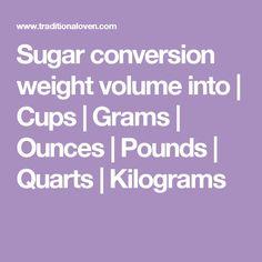 Sugar Conversion Weight Volume Into