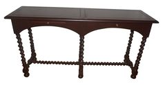 Henredon console table with sliding drawers and barley-twist legs. Minor signs of wear.