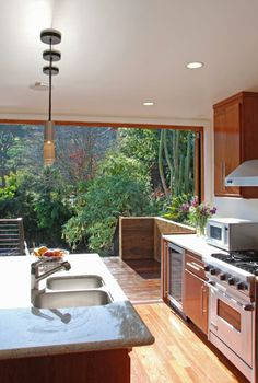 kitchen opens up to the backyard--- makes me want to cook. would be perfect if there was a vegetable garden.