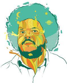 Tim Maia - Ilustração produzida por Capim Guiné