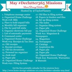 Join the #Declutter365 missions on Instagram and show off what you declutter. Here are your 15 minute missions for May! Follow taylorflanery on Instagram to see the missions daily.