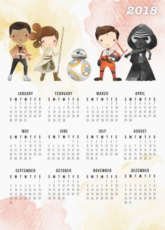Come and check out this Free Printable 2018 Star Wars Calendar! Filled with Star Wars fun and it can't wait to be printed out and hung on your wall!