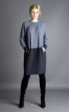 TUNIC MERINO WOOL CASHMERE WINTER KNIT DRESS POCKET GRAY MADE IN EUROPE S M L XL #MADEinEUROPE #Tunic #Work