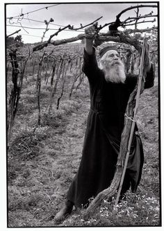 "Constantine Manos - Greece, 1964 ""Priest tending his vineyard "" Crete Greece, Athens Greece, Mykonos Greece, Magnum Photos, Black White Photos, Black And White Photography, Old Greek, Greek History, Photography Workshops"