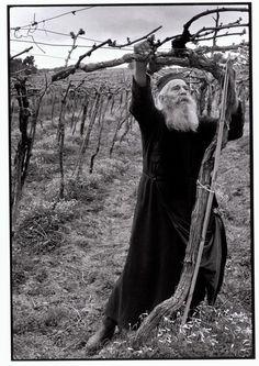 "Constantine Manos. Greece. Crete. 1964. Priest tending his vineyard. ""A Greek Portfolio"" p.103. © Costa Manos/Magnum Photos"