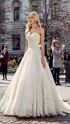 A-Line Strapless Appliqued Formal Wedding Dresses Sleeveless Bridal Gown Custom