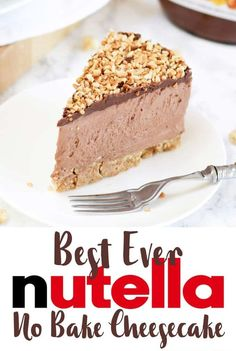 This is the ULTIMATE No Bake Nutella Cheesecake. Incredibly easy and utterly delicious. This chocolate and hazelnut delight is a must make for Nutella fans! Light and creamy, with a buttery biscuit base and roasted hazelnut topping. Best Nutella Cheesecake Recipe, Easy Cheesecake Recipes, Nutella Cake, Best Nutella Recipes, Nutella Mousse, Nutella Chocolate, No Bake Desserts, Dessert Recipes, Pudding Recipes