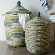 Graphic Printed Baskets - Blue + Green #westelm. Totally from senegal