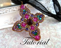 Check out Mystère Beading tutorial.Pattern.Exclusive.PDF file containing instructions for making the Crystal Cross Pendant, not the pendant itself. on emeliebeads
