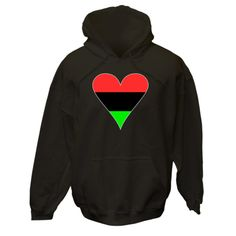 Share your love and pride in your African American heritage, culture and ancestry with this funky heart shaped FLag of the African Diaspora, or African American flag. Fun for Black History Month, Juneteenth, and anytime you want to celebrate your soul. $75.99 ink.flagnation.com Looks great on this black hoodie. Design by @Auntie Shoe.