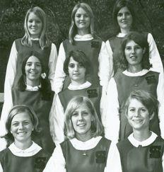 Senior school cheerleaders during the 1967-68 school year.
