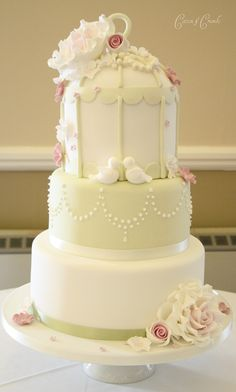 3 tier birdcage cake | by Cotton and Crumbs