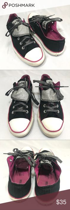 Converse Black/Pink Glittered Sneakers Wo10 Mens8 Converse Glittered Purple Sneakers Mens 8 Wo's 10  Black/Pink Canvas; Silver glitter accents; Size Mens 8; Women's 10; Unisex; SCE0223590118 Converse Shoes Sneakers