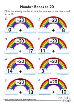 Rainbow number bonds worksheet to 20