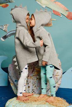 dino hoodie in grey neoprene by kukukid