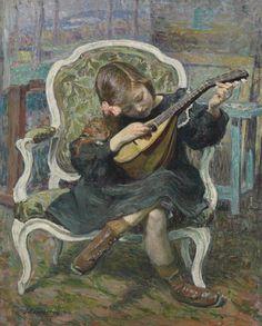Henri Lebasque (France 1865-1937) La petite mandoliniste (Marthe Lebasque) 1905oil on canvas 80.6 x 65.4 cm