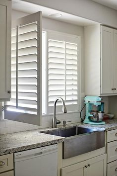 Kitchen Window Shutters Indoor Ideas For 2019 Kitchen Shutters, Interior Window Shutters, Interior Windows, Indoor Window Shutters, Kitchen Window Blinds, White Shutters, Kitchen Blinds Above Sink, Bathroom Blinds, Wooden Window Blinds