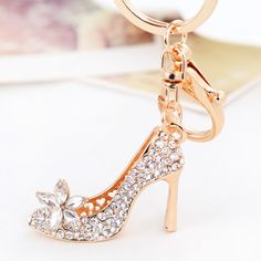 2016 Hot Cute Cartoon Lady Shoe Keychain Rhinestone Girl Crystal Car Key ring holder Women Bag charm Accessories