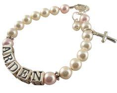 Baptism bracelet/ Swarovski pearl name bracelet by NameBracelets