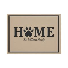 Heart Dog Paw Print   HOME  Personalized Doormat