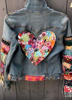 Items similar to jean jacket hippie boho embellished colorful denim jean jacket on Etsy Boho Hippie, Boho Gypsy, Jean Hippie, Estilo Hippie, Bohemian Style, Hippie Outfits, Denim Jeans, Jean Jacket Outfits, Fabric Ornaments