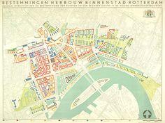 Kaart met een globaal overzicht van de bestemmingen der ruimten op de begane grond in de nieuwe binnenstad van Rotterdam. datering: 3/1946. Als repro te bestellen via: www.stadsarchief.rotterdam.nl