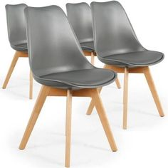 MENZZO - Lot de 4 chaises Style scandinave Bovary Gris