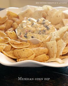 Creamy Mexican Corn Dip! Perfect for summer barbecues! Quick & Easy Appetizers @ RusticHoney.com