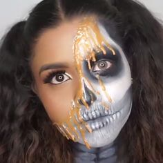 Looking for for inspiration for your Halloween make-up? Browse around this site for creepy Halloween makeup looks. Halloween Makeup Videos, Unique Halloween Makeup, Halloween Looks, Scary Halloween, Halloween 2019, Halloween Costumes, Maquillage Halloween Simple, Scarecrow Makeup, Fantasias Halloween